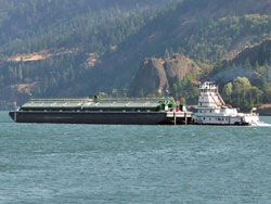 Photo of a barge on the Columbia River